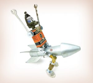 Roboter aus Dose reitend auf Rakete