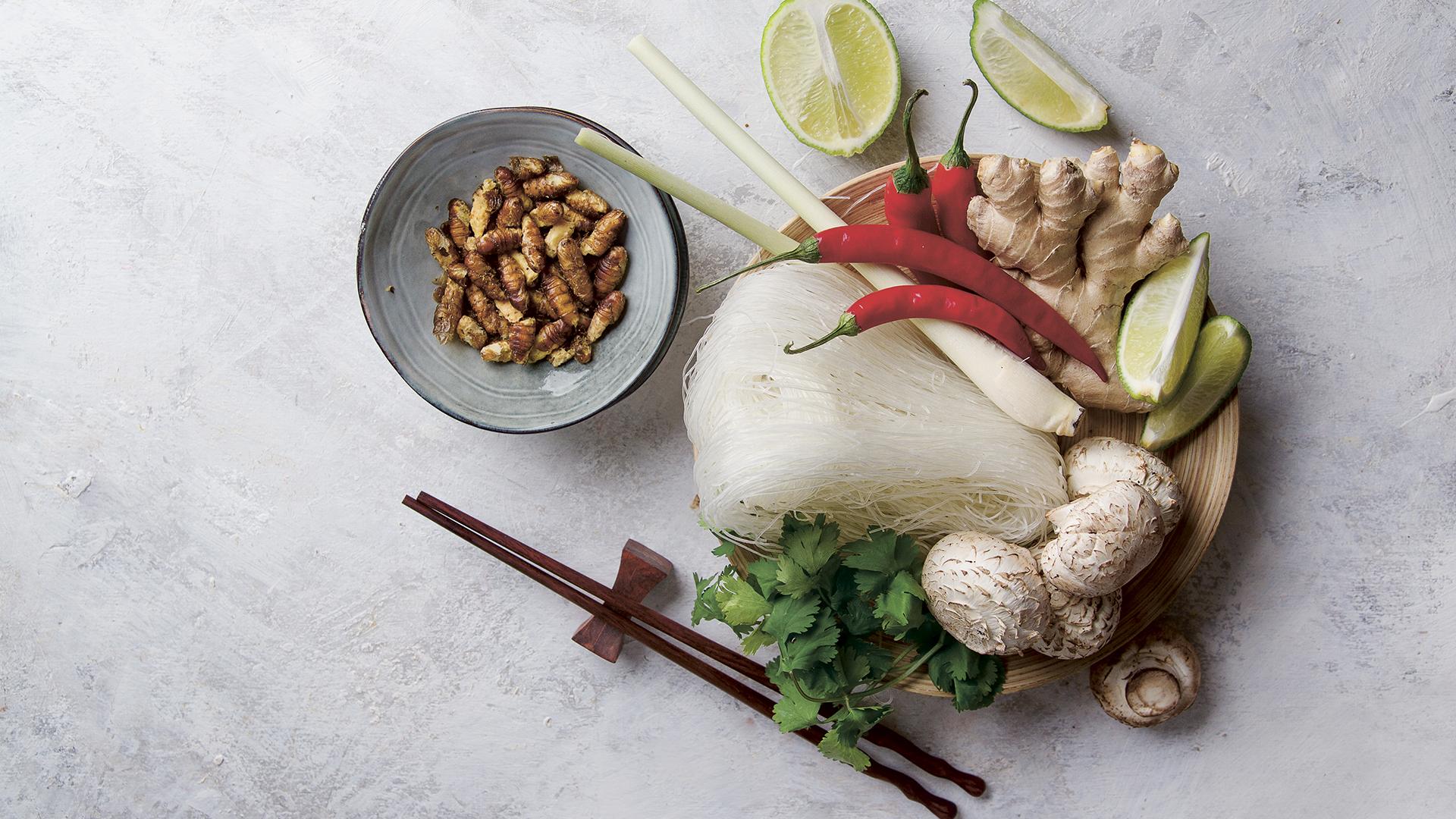 Asiatisches Essen mit Maden als Beilage