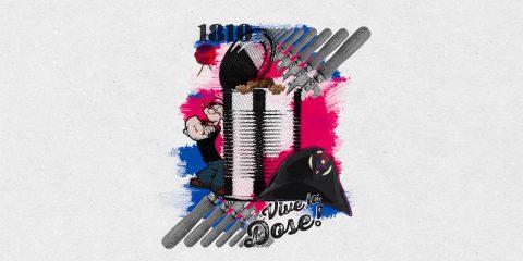 Volle Dosis von zusammengewürfelten Elementen wie einer geöffneten Dose mit vielen Dosenöffnern, Popeye und einem Napoleon Hut. Im Hintergrund Frankreich Farben.