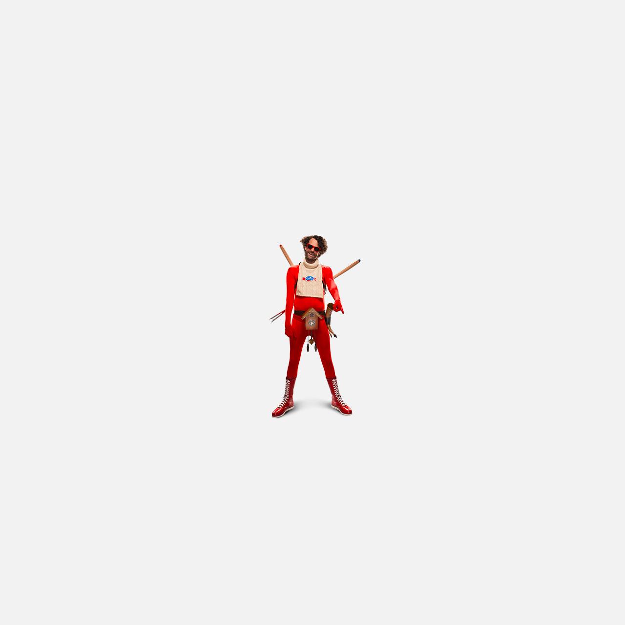 Mann mit rotem Anzug