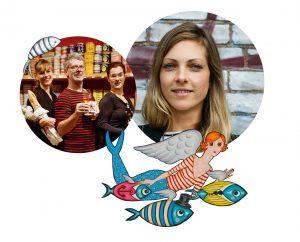 Menschen mit Dosen, Baguette und Wein; außerdem eine gemalte Meerjungfrau mit Fischen