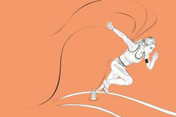 Skizze einer Athletin, die aus einer Dose Dosengemüse heraus entspringt