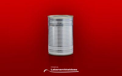Made For Food: Eine Blechdose auf rotem Hintergrund und der Schriftzug von der Initiative Lebensmitteldose