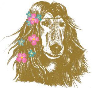 Gezeichneter Hund als Hippie mit Blumen im Haar