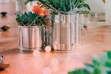 Bepflanzte Dosen auf dem gedeckten Tisch