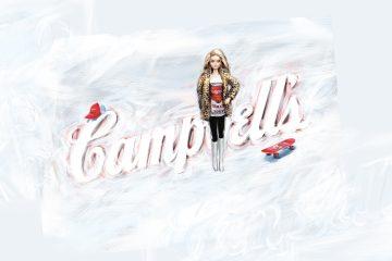 Barbiepuppe trägt T-Shirt mit aufgedruckter Dose